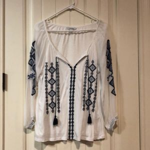 Lucky Brand long sleeve blue and white top